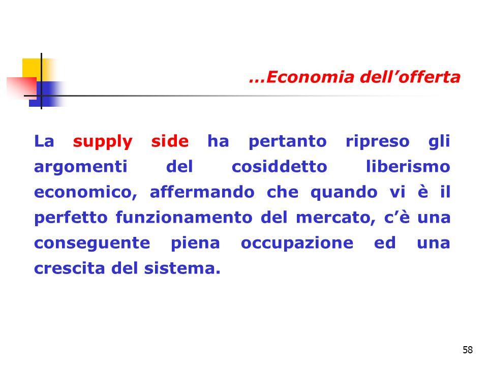 58 La supply side ha pertanto ripreso gli argomenti del cosiddetto liberismo economico, affermando che quando vi è il perfetto funzionamento del merca