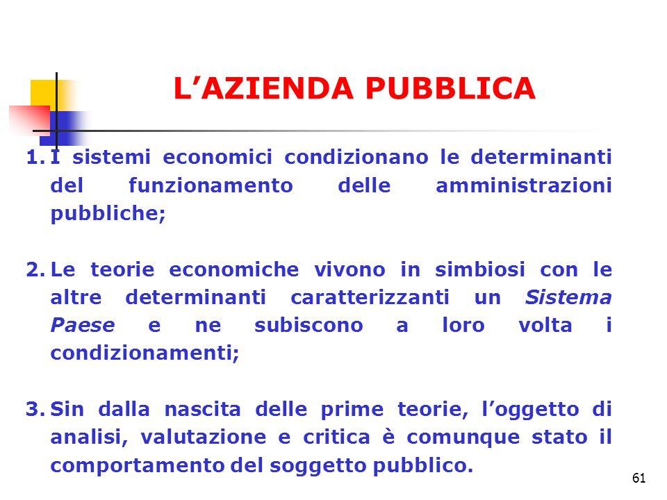 61 1.I sistemi economici condizionano le determinanti del funzionamento delle amministrazioni pubbliche; 2.Le teorie economiche vivono in simbiosi con