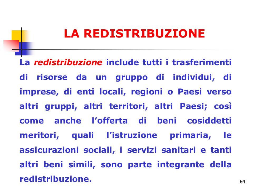 64 La redistribuzione include tutti i trasferimenti di risorse da un gruppo di individui, di imprese, di enti locali, regioni o Paesi verso altri grup