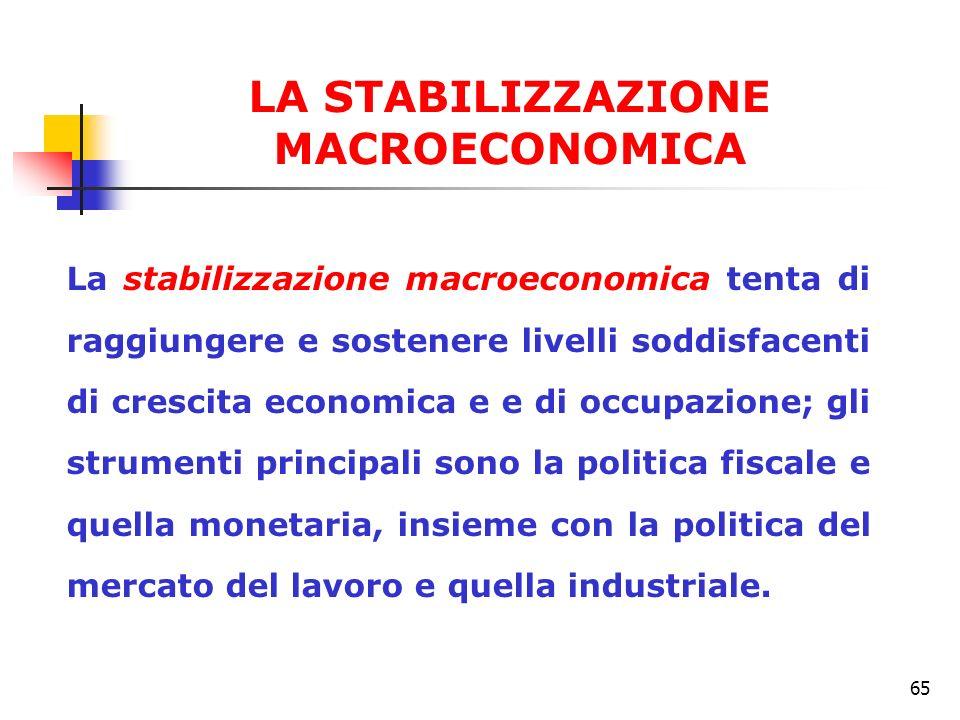 65 La stabilizzazione macroeconomica tenta di raggiungere e sostenere livelli soddisfacenti di crescita economica e e di occupazione; gli strumenti pr