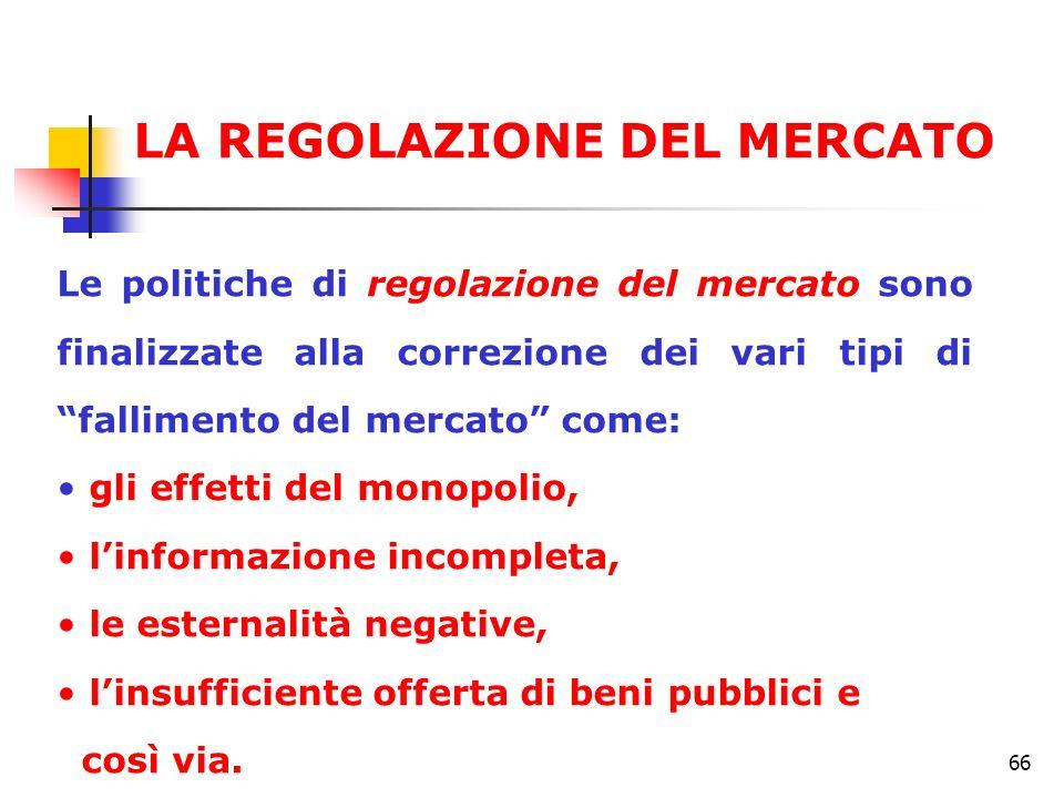 66 Le politiche di regolazione del mercato sono finalizzate alla correzione dei vari tipi di fallimento del mercato come: gli effetti del monopolio, l