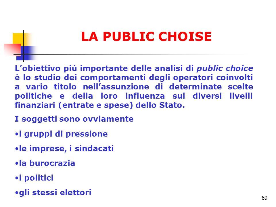 69 Lobiettivo più importante delle analisi di public choice è lo studio dei comportamenti degli operatori coinvolti a vario titolo nellassunzione di d
