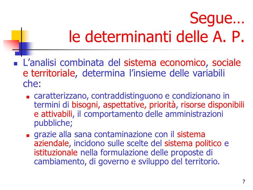 7 Lanalisi combinata del sistema economico, sociale e territoriale, determina linsieme delle variabili che: caratterizzano, contraddistinguono e condi