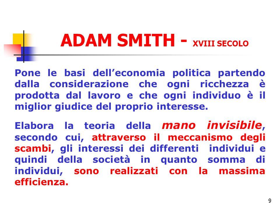 9 ADAM SMITH - XVIII SECOLO Pone le basi delleconomia politica partendo dalla considerazione che ogni ricchezza è prodotta dal lavoro e che ogni indiv