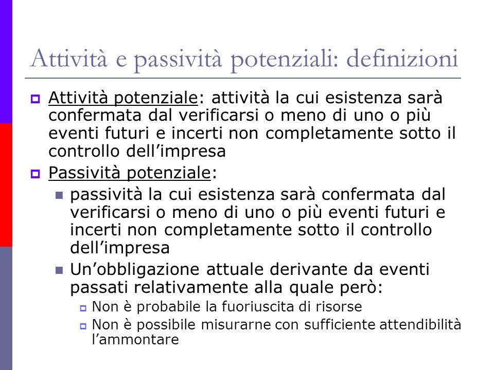 Attività e passività potenziali: definizioni Attività potenziale: attività la cui esistenza sarà confermata dal verificarsi o meno di uno o più eventi