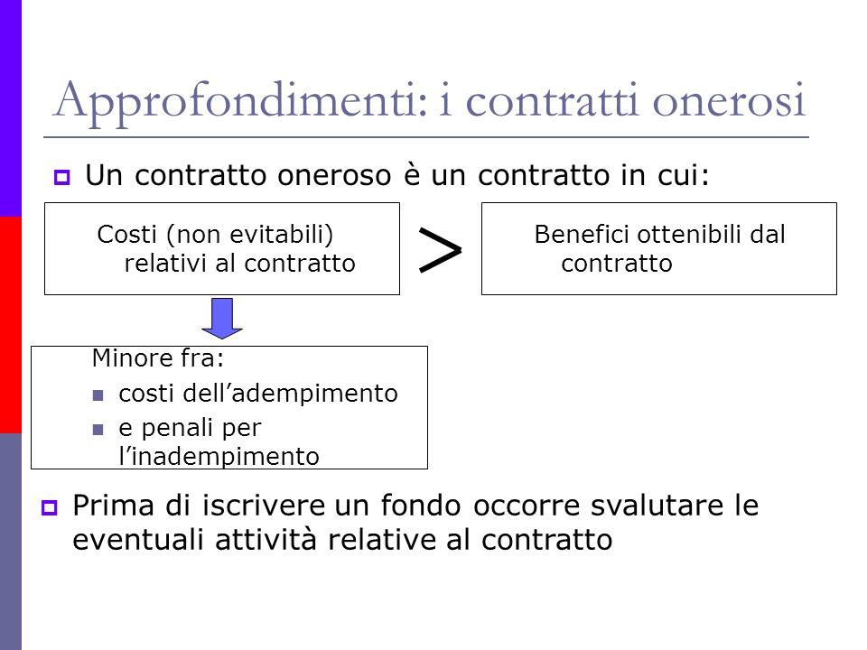 Approfondimenti: i contratti onerosi Un contratto oneroso è un contratto in cui: Costi (non evitabili) relativi al contratto Benefici ottenibili dal c