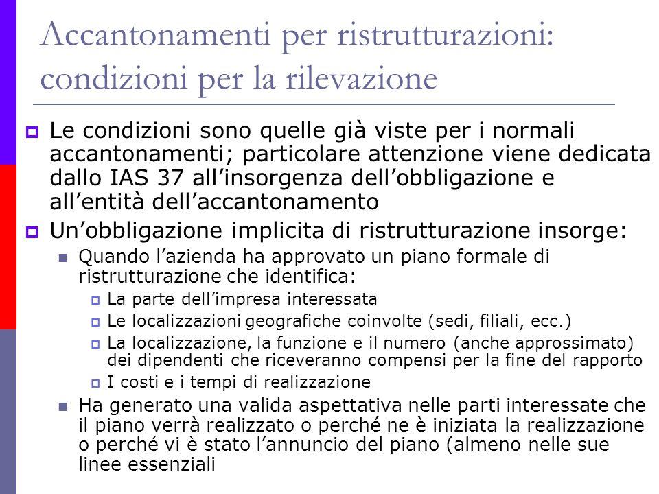 Accantonamenti per ristrutturazioni: condizioni per la rilevazione Le condizioni sono quelle già viste per i normali accantonamenti; particolare atten