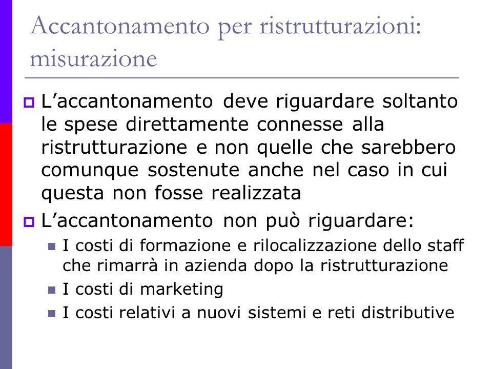 Accantonamento per ristrutturazioni: misurazione Laccantonamento deve riguardare soltanto le spese direttamente connesse alla ristrutturazione e non q