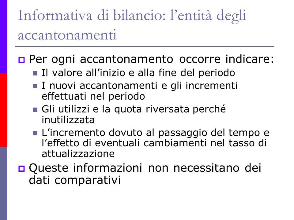 Informativa di bilancio: lentità degli accantonamenti Per ogni accantonamento occorre indicare: Il valore allinizio e alla fine del periodo I nuovi ac