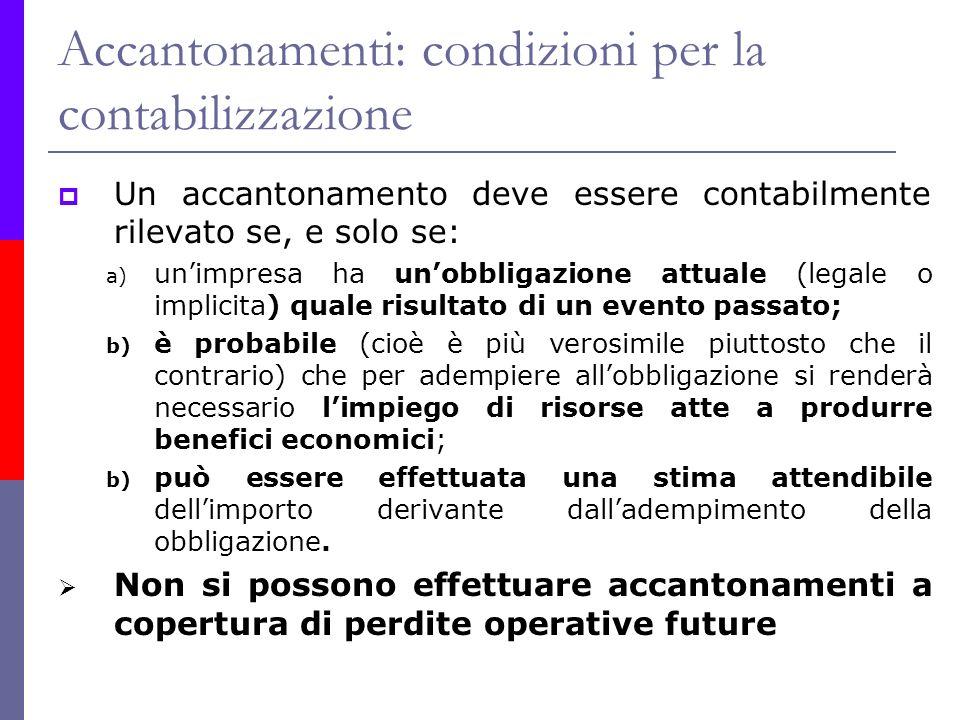Accantonamenti: condizioni per la contabilizzazione Un accantonamento deve essere contabilmente rilevato se, e solo se: a) unimpresa ha unobbligazione