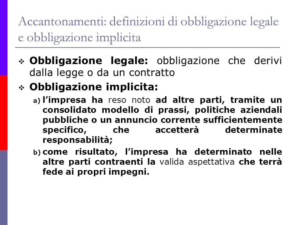 Accantonamenti: definizioni di obbligazione legale e obbligazione implicita Obbligazione legale: obbligazione che derivi dalla legge o da un contratto