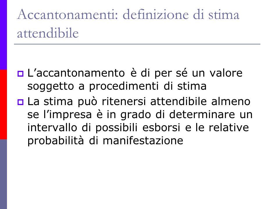 Accantonamenti: definizione di stima attendibile Laccantonamento è di per sé un valore soggetto a procedimenti di stima La stima può ritenersi attendi