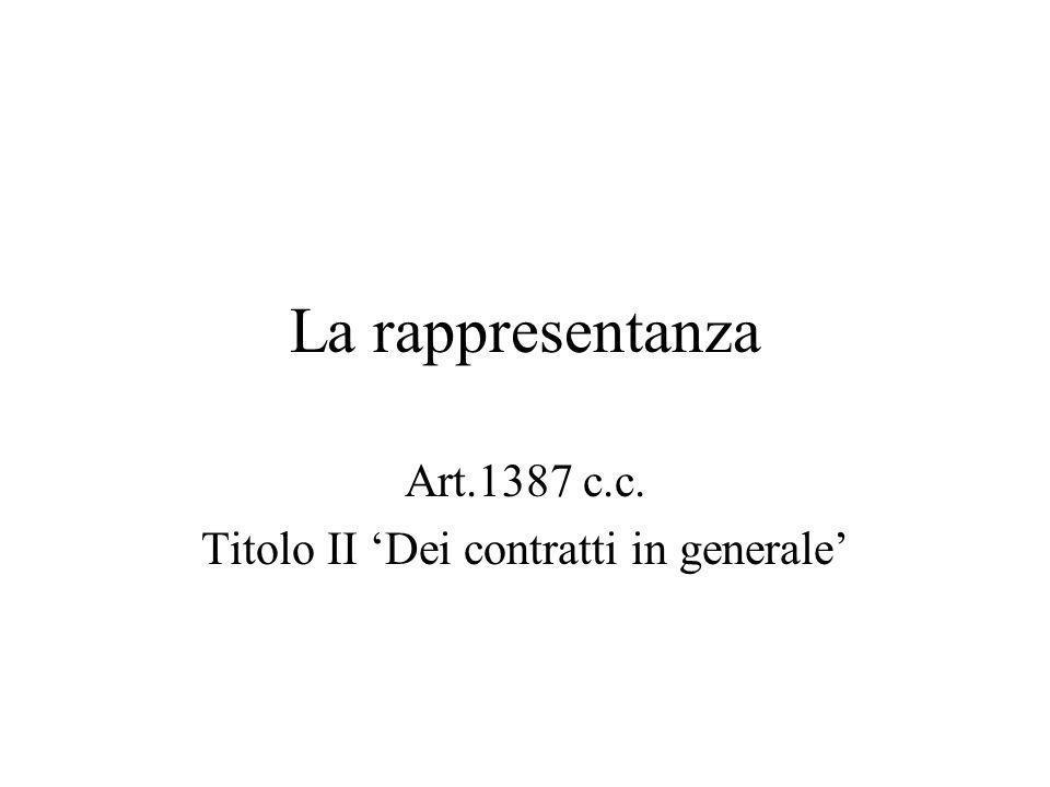 La rappresentanza Art.1387 c.c. Titolo II Dei contratti in generale