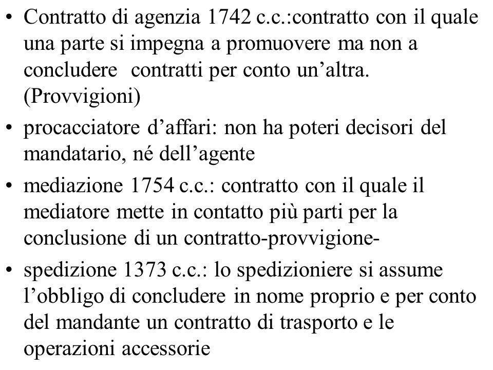 Contratto di agenzia 1742 c.c.:contratto con il quale una parte si impegna a promuovere ma non a concludere contratti per conto unaltra. (Provvigioni)