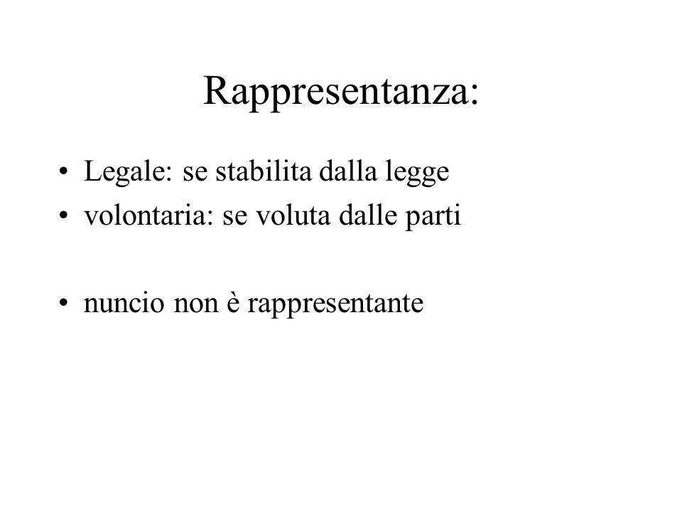 Rappresentanza: Legale: se stabilita dalla legge volontaria: se voluta dalle parti nuncio non è rappresentante