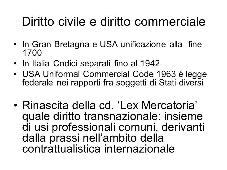 Diritto civile e diritto commerciale In Gran Bretagna e USA unificazione alla fine 1700 In Italia Codici separati fino al 1942 USA Uniformal Commercial Code 1963 è legge federale nei rapporti fra soggetti di Stati diversi Rinascita della cd.