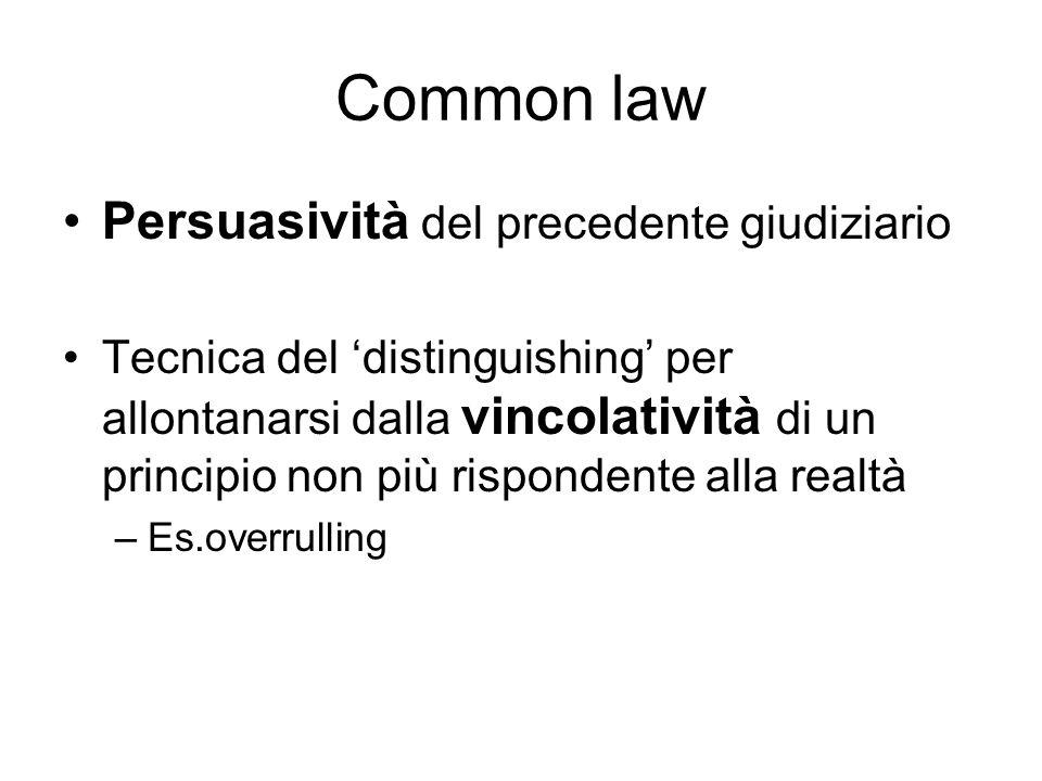Common law Persuasività del precedente giudiziario Tecnica del distinguishing per allontanarsi dalla vincolatività di un principio non più rispondente alla realtà –Es.overrulling