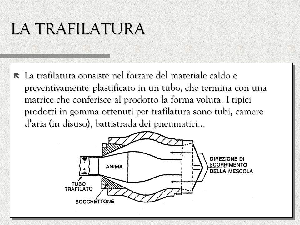 LA TRAFILATURA ë La trafilatura consiste nel forzare del materiale caldo e preventivamente plastificato in un tubo, che termina con una matrice che co