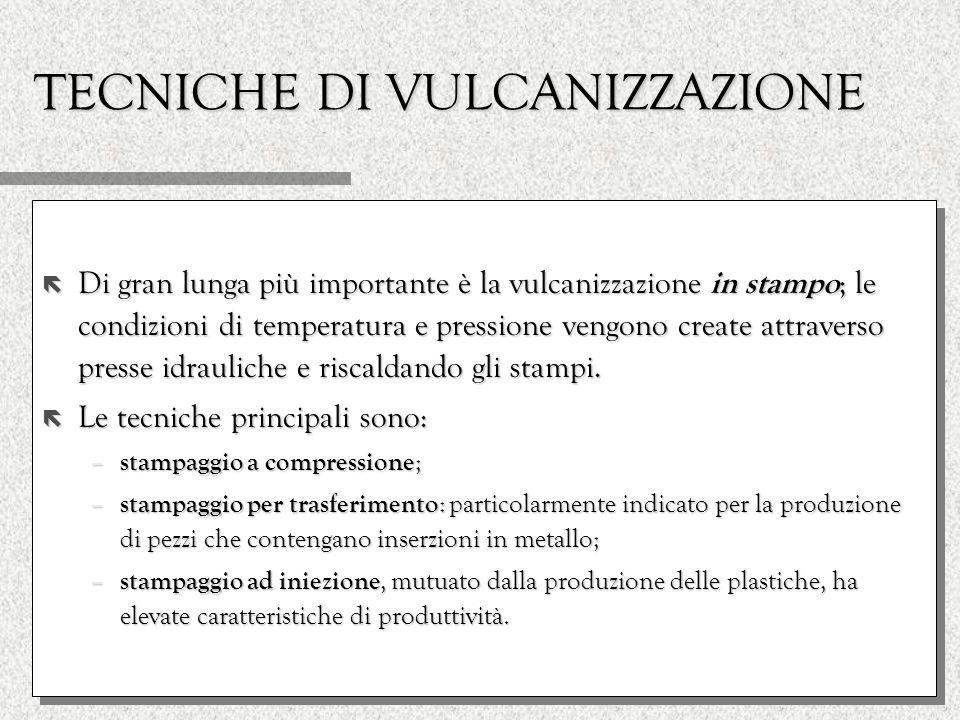 TECNICHE DI VULCANIZZAZIONE ë Di gran lunga più importante è la vulcanizzazione in stampo ; le condizioni di temperatura e pressione vengono create at
