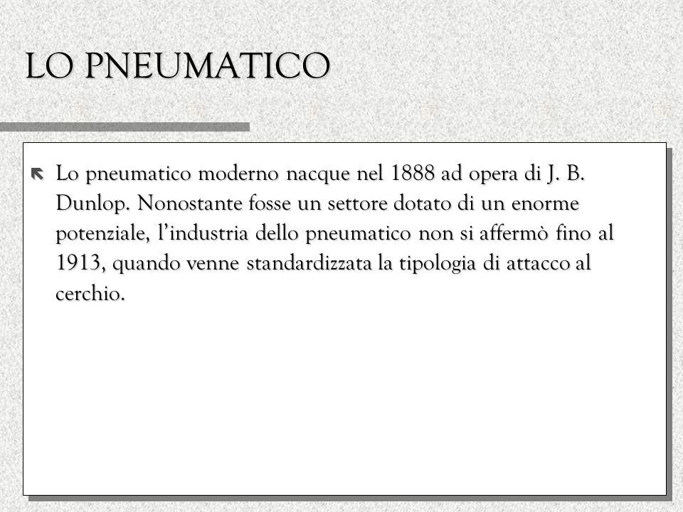 LO PNEUMATICO ë Lo pneumatico moderno nacque nel 1888 ad opera di J. B. Dunlop. Nonostante fosse un settore dotato di un enorme potenziale, lindustria