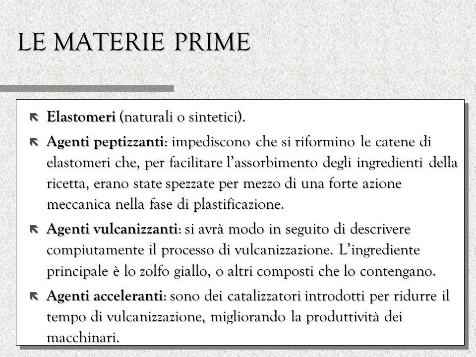 LE MATERIE PRIME ë Elastomeri (naturali o sintetici). ë Agenti peptizzanti : impediscono che si riformino le catene di elastomeri che, per facilitare
