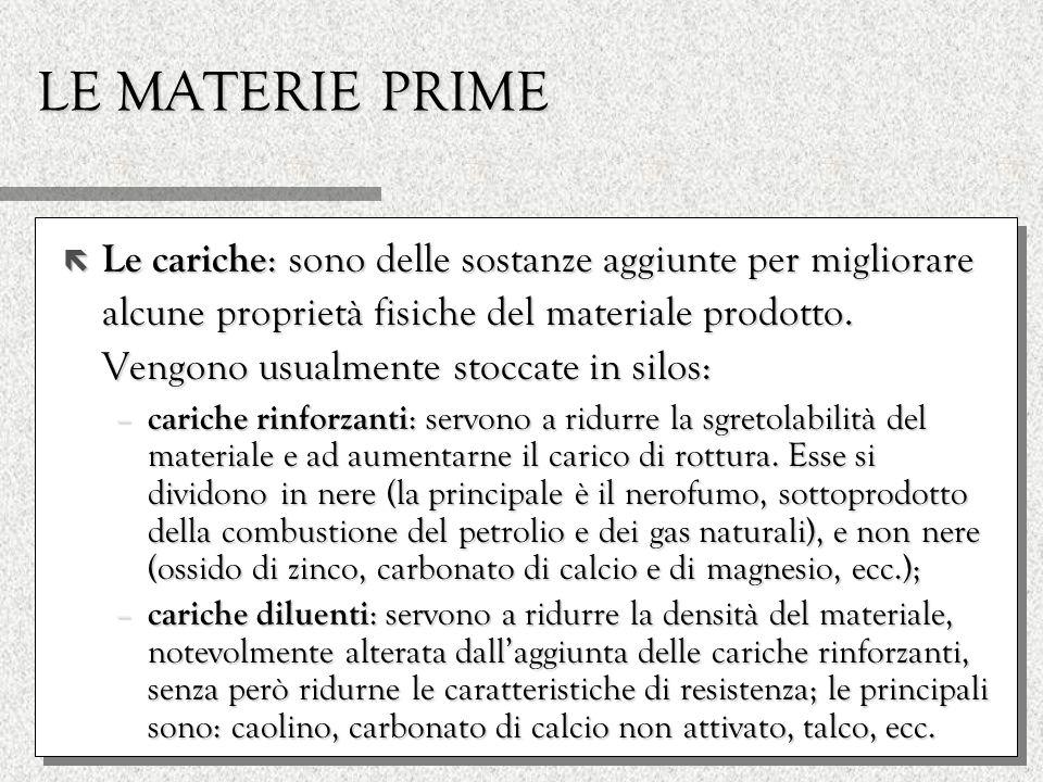 LE MATERIE PRIME ë Plastificanti : sono utilizzati per facilitare la plastificazione e per restituire flessibilità al prodotto vulcanizzato; i principali sono acido stearico, acido oleico e diverse resine vegetali.