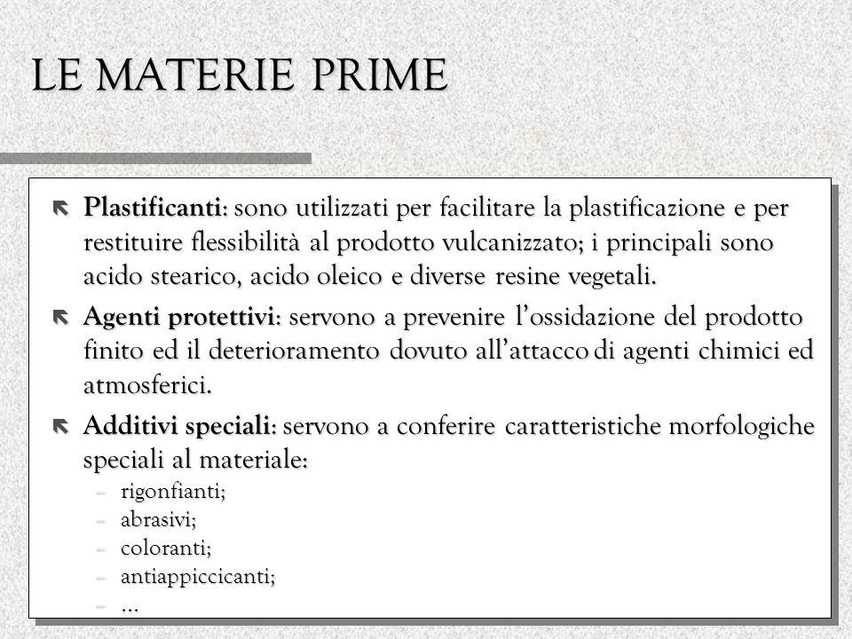 LE MATERIE PRIME ë Plastificanti : sono utilizzati per facilitare la plastificazione e per restituire flessibilità al prodotto vulcanizzato; i princip