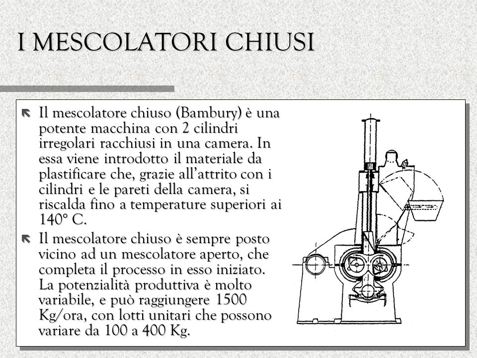I MESCOLATORI CHIUSI ë Il mescolatore chiuso (Bambury) è una potente macchina con 2 cilindri irregolari racchiusi in una camera. In essa viene introdo