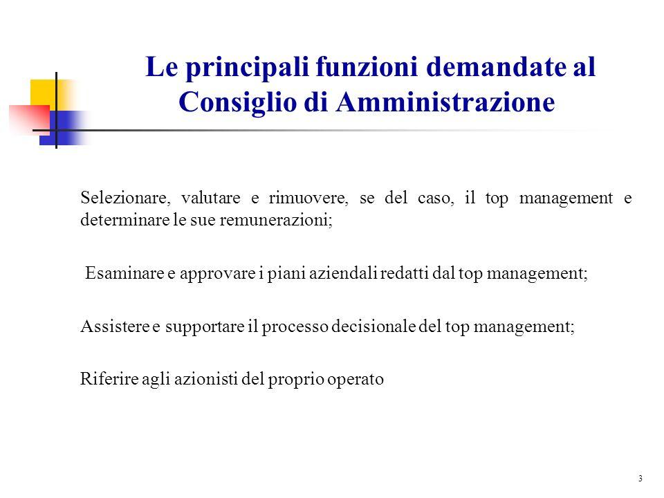 3 Le principali funzioni demandate al Consiglio di Amministrazione Selezionare, valutare e rimuovere, se del caso, il top management e determinare le