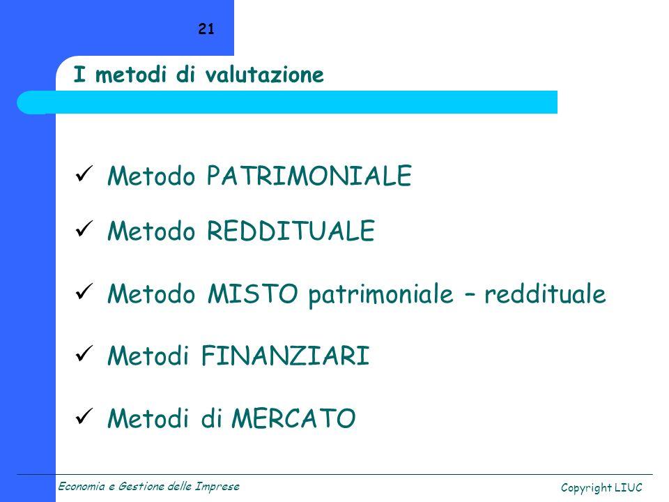 Economia e Gestione delle Imprese Copyright LIUC 21 I metodi di valutazione Metodo PATRIMONIALE Metodo REDDITUALE Metodo MISTO patrimoniale – reddituale Metodi FINANZIARI Metodi di MERCATO