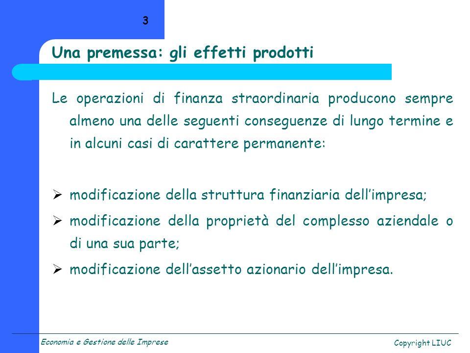 Economia e Gestione delle Imprese Copyright LIUC 24 Il capitale netto rettificato W p = C nc + [(p 1 + p 2 + …) + (m 1 + m 2 + …)] * (1 - t) C nc = capitale netto contabile p i = plusvalenze m i = minusvalenze LE RETTIFICHE: rispondenza a corretti principi contabili accertamento di plusvalenze o minusvalenze rettifiche fiscali