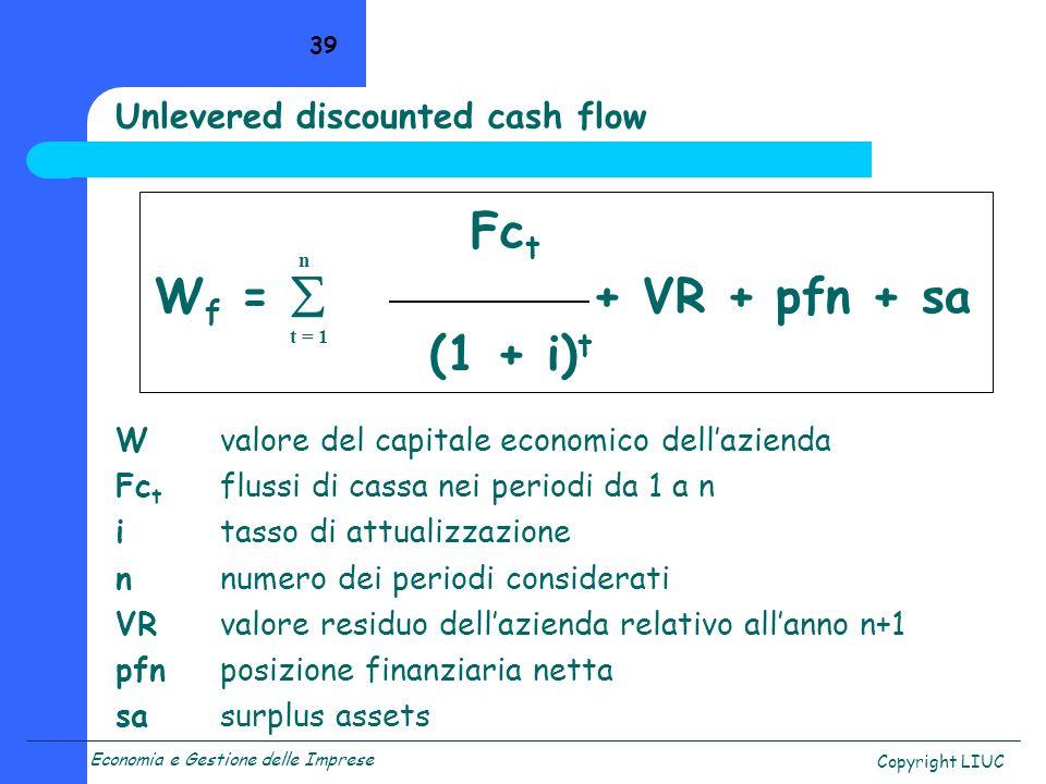 Economia e Gestione delle Imprese Copyright LIUC 39 Unlevered discounted cash flow Fc t W f = + VR + pfn + sa (1 + i) t Wvalore del capitale economico dellazienda Fc t flussi di cassa nei periodi da 1 a n itasso di attualizzazione nnumero dei periodi considerati VRvalore residuo dellazienda relativo allanno n+1 pfnposizione finanziaria netta sasurplus assets t = 1 n