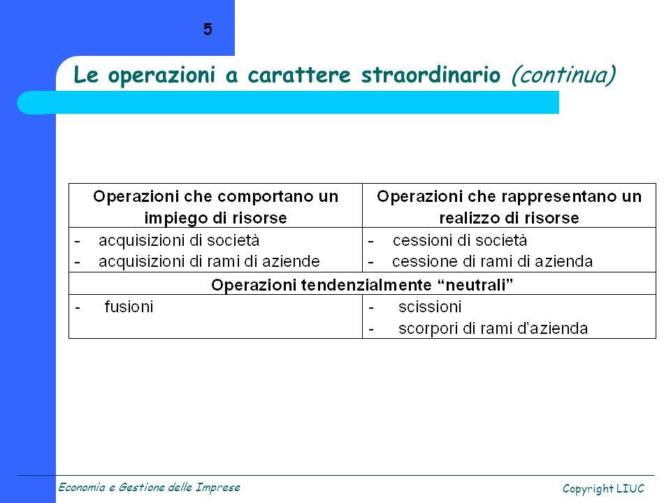 Economia e Gestione delle Imprese Copyright LIUC 5 Le operazioni a carattere straordinario (continua)