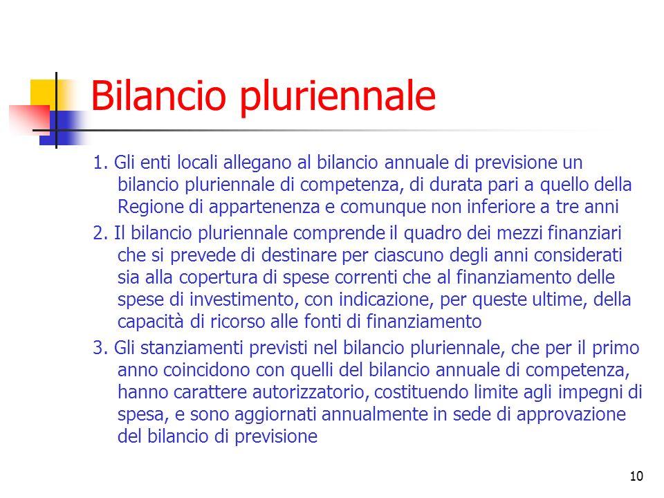 10 Bilancio pluriennale 1. Gli enti locali allegano al bilancio annuale di previsione un bilancio pluriennale di competenza, di durata pari a quello d