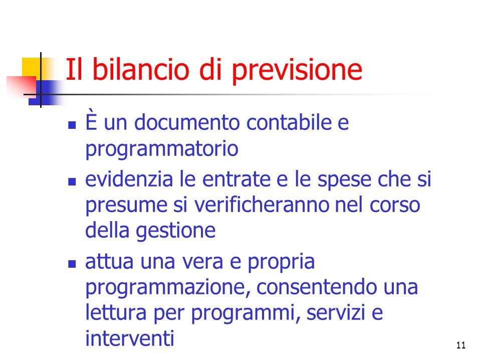 11 Il bilancio di previsione È un documento contabile e programmatorio evidenzia le entrate e le spese che si presume si verificheranno nel corso dell