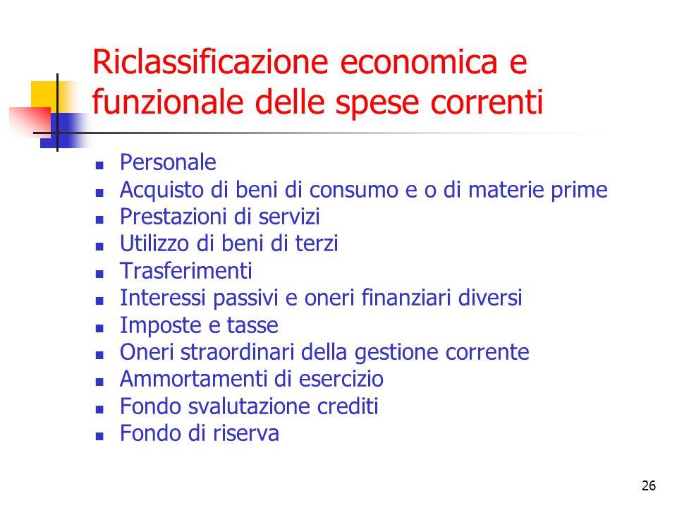 26 Riclassificazione economica e funzionale delle spese correnti Personale Acquisto di beni di consumo e o di materie prime Prestazioni di servizi Uti