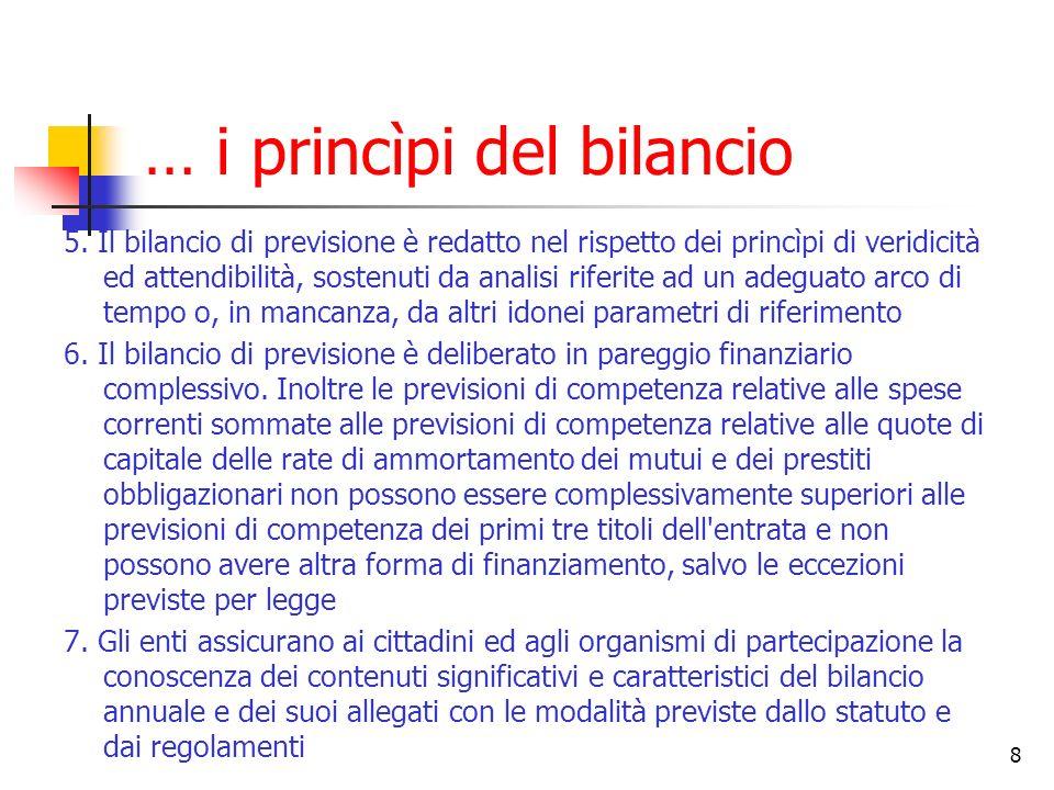 8 … i princìpi del bilancio 5. Il bilancio di previsione è redatto nel rispetto dei princìpi di veridicità ed attendibilità, sostenuti da analisi rife