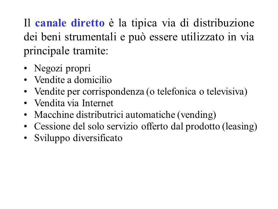 Il canale diretto è la tipica via di distribuzione dei beni strumentali e può essere utilizzato in via principale tramite: Negozi propri Vendite a dom