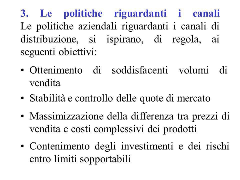 3. Le politiche riguardanti i canali Le politiche aziendali riguardanti i canali di distribuzione, si ispirano, di regola, ai seguenti obiettivi: Otte