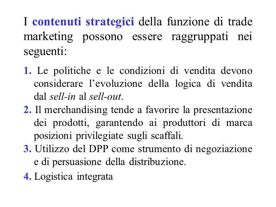 I contenuti strategici della funzione di trade marketing possono essere raggruppati nei seguenti: 1. Le politiche e le condizioni di vendita devono co