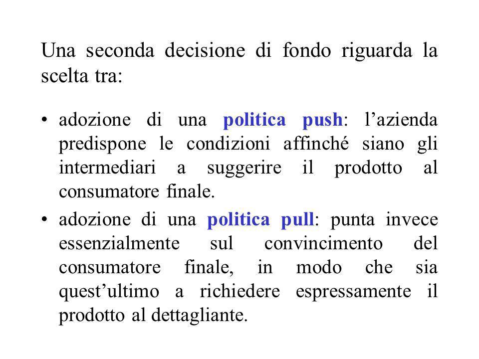 Una seconda decisione di fondo riguarda la scelta tra: adozione di una politica push: lazienda predispone le condizioni affinché siano gli intermediar