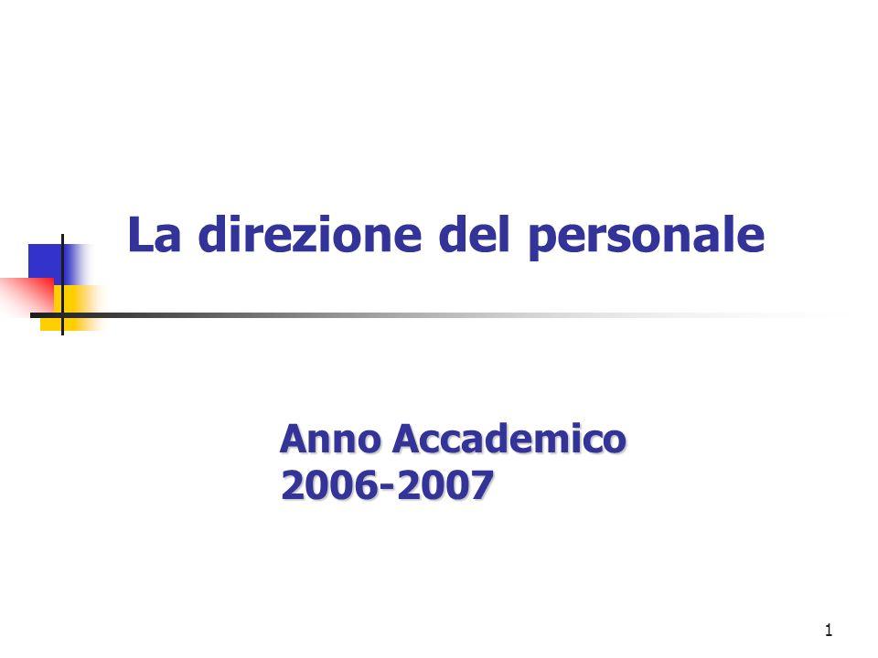1 La direzione del personale Anno Accademico 2006-2007