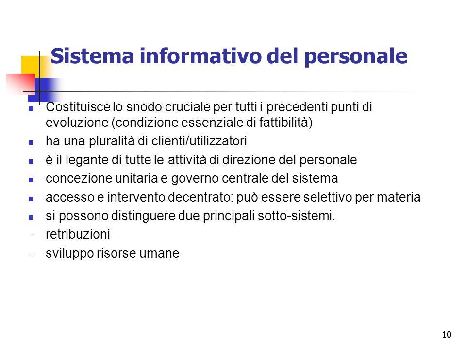 10 Sistema informativo del personale Costituisce lo snodo cruciale per tutti i precedenti punti di evoluzione (condizione essenziale di fattibilità) h