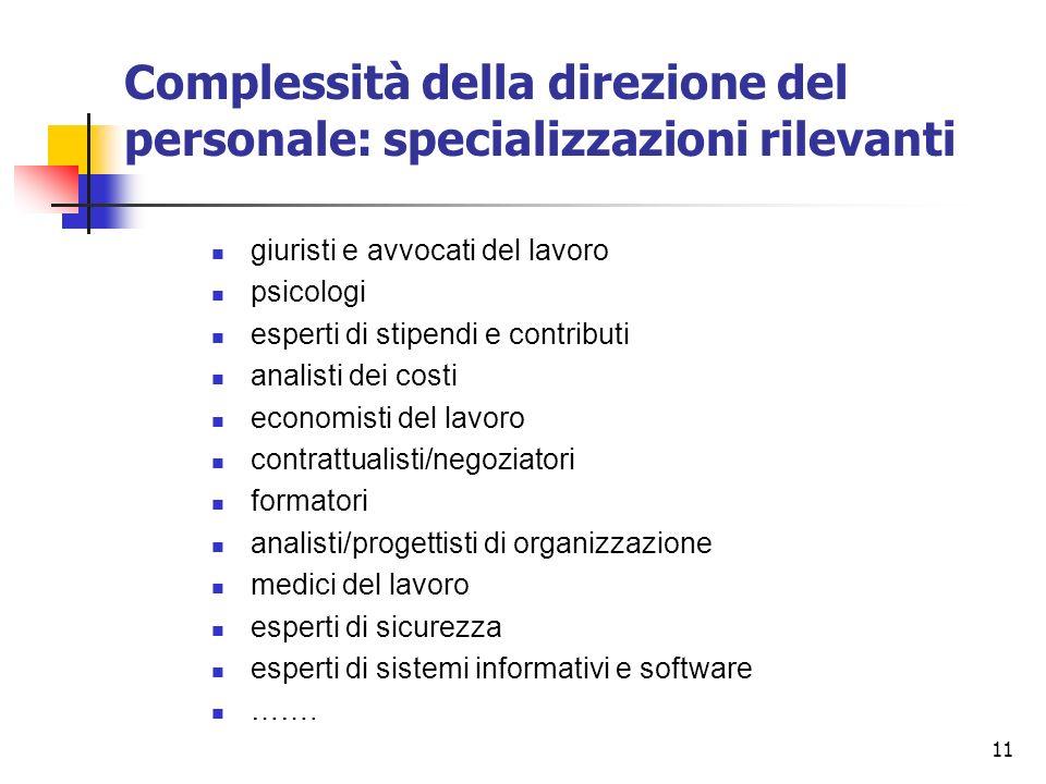 11 Complessità della direzione del personale: specializzazioni rilevanti giuristi e avvocati del lavoro psicologi esperti di stipendi e contributi ana