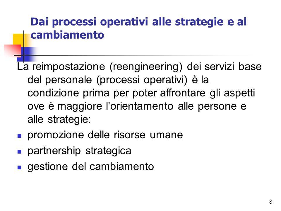 8 Dai processi operativi alle strategie e al cambiamento La reimpostazione (reengineering) dei servizi base del personale (processi operativi) è la co