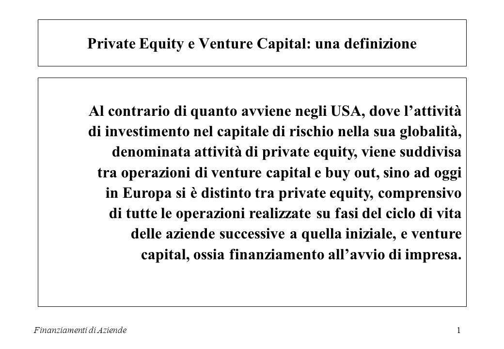 Finanziamenti di Aziende2 Avvio Sviluppo Cambiamento Venture Capital Private Equity Il mercato del Private Equity e Venture Capital
