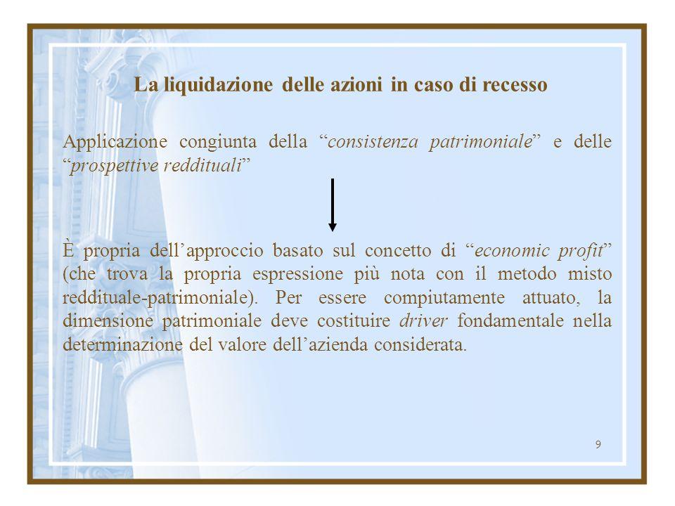 9 Applicazione congiunta della consistenza patrimoniale e delleprospettive reddituali È propria dellapproccio basato sul concetto di economic profit (