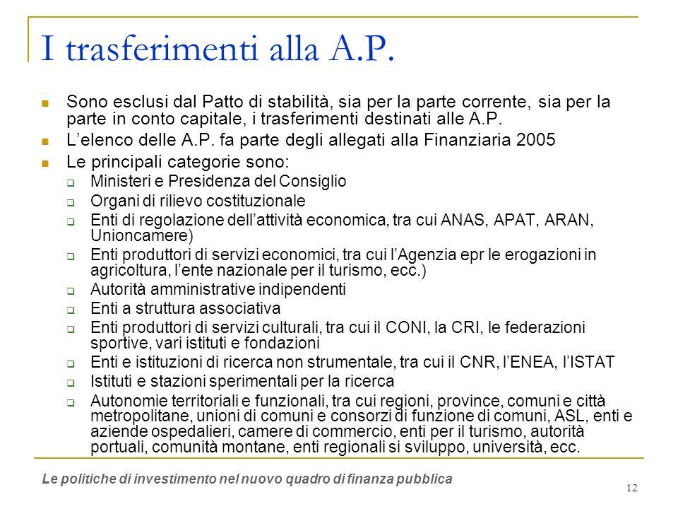 12 I trasferimenti alla A.P.