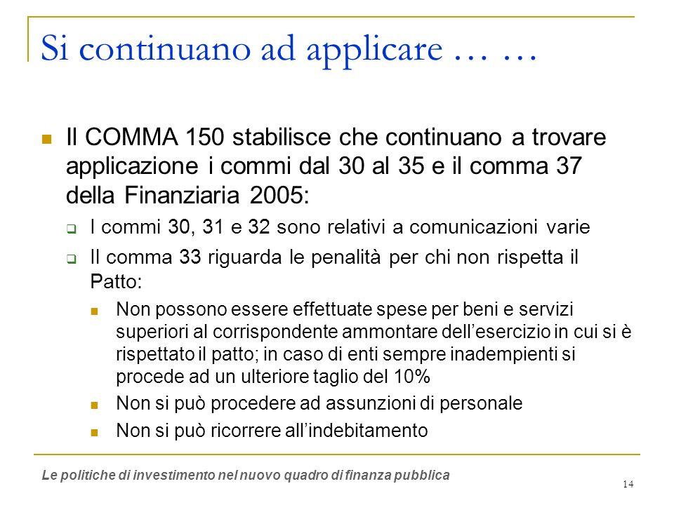 14 Si continuano ad applicare … … Il COMMA 150 stabilisce che continuano a trovare applicazione i commi dal 30 al 35 e il comma 37 della Finanziaria 2