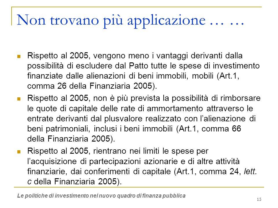 15 Non trovano più applicazione … … Rispetto al 2005, vengono meno i vantaggi derivanti dalla possibilità di escludere dal Patto tutte le spese di investimento finanziate dalle alienazioni di beni immobili, mobili (Art.1, comma 26 della Finanziaria 2005).